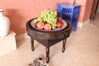 Moroccan Berber Round Table with Border and Removable Screwed on Legs Hand Carved Wood Brown 50x40cm